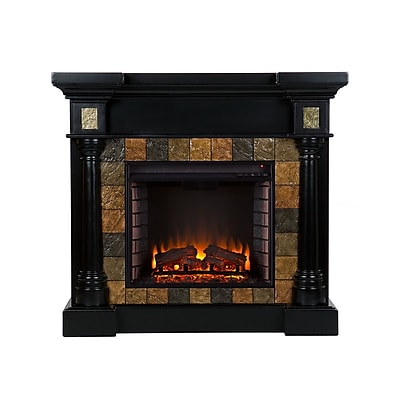 SEI Carrington Wood/Veneer Electric Floor Standing Fireplace, Black