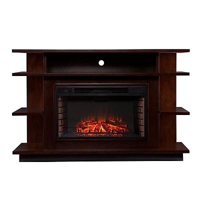 SEI Granville Wood/Veneer Electric Floor Standing Fireplace, Espresso/Ebony
