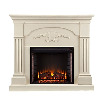 SEI Sicilian Harvest Wood/Veneer Electric Floor Standing Fireplace, Ivory