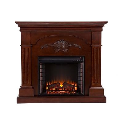 SEI Sicilian Harvest Wood/Veneer Electric Floor Standing Fireplace, Mahogany