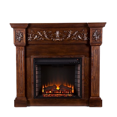 SEI Calvert Carved Wood/Veneer Electric Floor Standing Fireplace, Espresso
