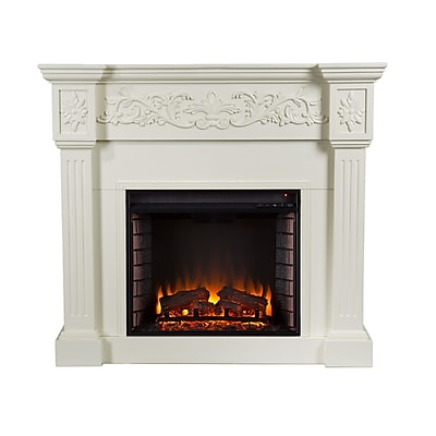 SEI Calvert Carved Wood/Veneer Electric Floor Standing Fireplace, Ivory