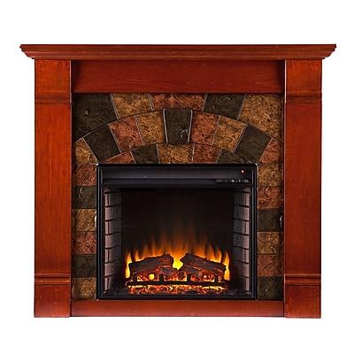 SEI Elkmont Wood/Veneer Electric Floor Standing Fireplace, Mahogany
