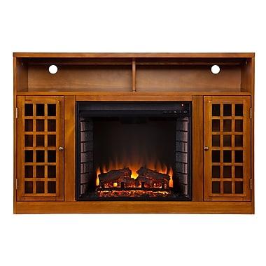 SEI Narita Wood/Veneer Electric Floor Standing Fireplace, Glazed Pine