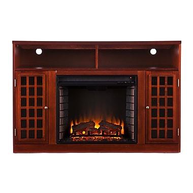 SEI Narita Wood/Veneer Electric Floor Standing Fireplace, Mahogany