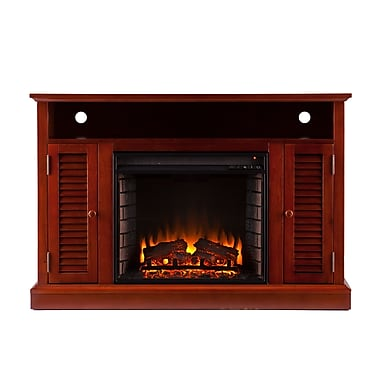 SEI Antebellum Wood/Veneer Electric Floor Standing Fireplace, Mahogany