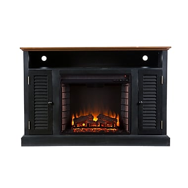 SEI Antebellum Wood/Veneer Electric Floor Standing Fireplace, Black/Walnut