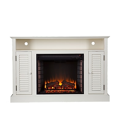 SEI Antebellum Wood/Veneer Electric Floor Standing Fireplace, Antique White