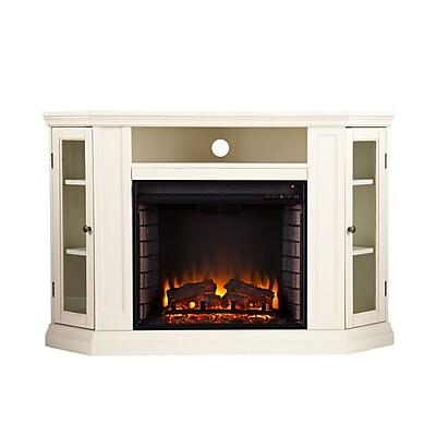 SEI Claremont Wood/Veneer Electric Floor Standing Fireplace, Ivory