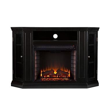 SEI Claremont Wood/Veneer Electric Floor Standing Fireplace, Black