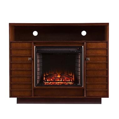 SEI Lancaster Wood/Veneer Electric Floor Standing Fireplace, Dark Tobacco/Espresso