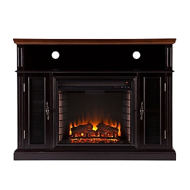 SEI Oxford Wood/Veneer Electric Floor Standing Fireplace, Dark Tobacco/Ebony