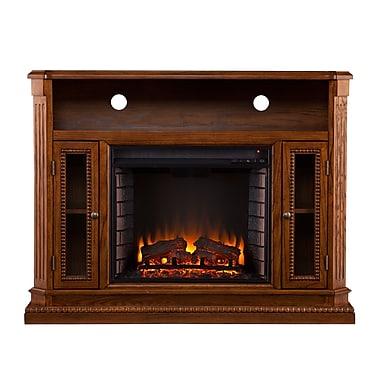 SEI Atkinson Wood/Veneer Electric Floor Standing Fireplace, Rich Brown Oak