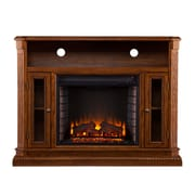 SEI Atkinson Wood/Veneer Electric Floor Standing Fireplace, Rich Brown Oak