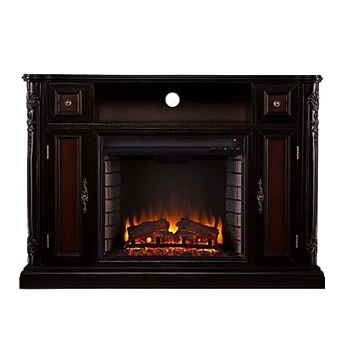 SEI Marianna Wood/Veneer Electric Floor Standing Fireplace, Ebony