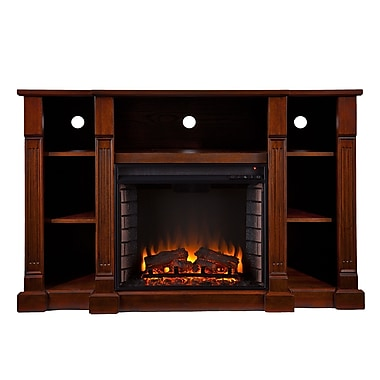 SEI Kendall Wood/Veneer Electric Floor Standing Fireplace, Espresso
