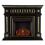 SEI Donovan Wood/Veneer Electric Floor Standing Fireplace, Black