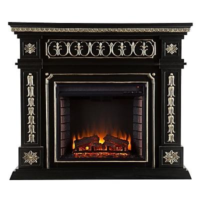 SEI Donovan Wood/Veneer Electric Floor Standing Fireplace, Black