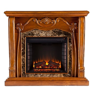 SEI Cardona Wood/Veneer Electric Floor Standing Fireplace, Walnut