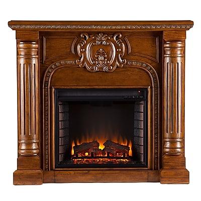 SEI Romano Wood/Veneer Electric Floor Standing Fireplace, Antique Oak