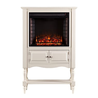 SEI Providence Wood/Veneer Electric Floor Standing Fireplace, Antique White