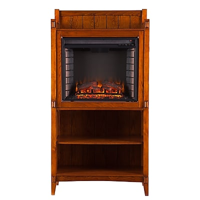 SEI Moreno Wood/Veneer Electric Floor Standing Fireplace, Mission Oak