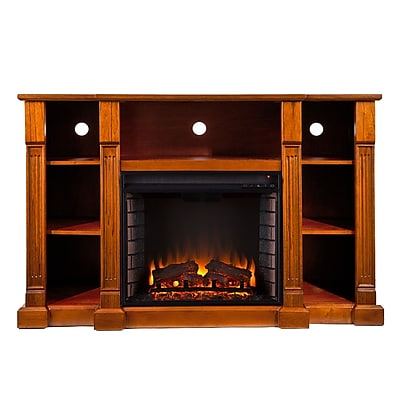 SEI Kendall Wood/Veneer Electric Floor Standing Fireplace, Glazed Pine