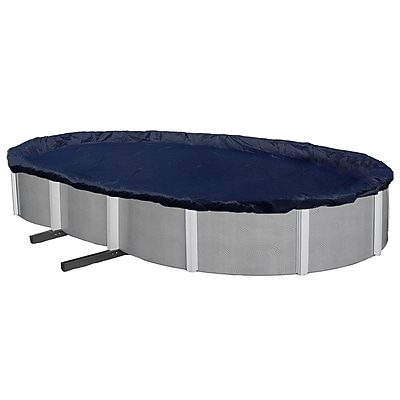 Arctic Armor BWC736 Blue Oval Above-Ground 8 Year Winter Pool Cover, 25' x 45'