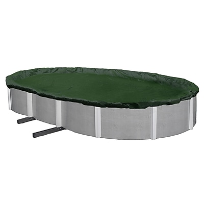 Arctic Armor BWC815 Green Oval Above-Ground 12 Year Winter Pool Cover, 16' x 24'