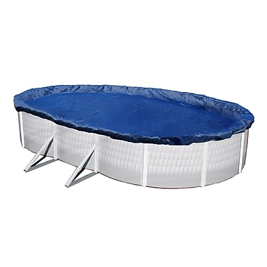 Arctic Armor BWC918 Blue Oval Above-Ground 15 Year Winter Pool Cover, 16' x 28'