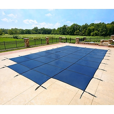 Arctic Armor BWS365B Blue Rectangular In Ground 12 Year Pool Safety Cover with Center End Step, 20' x 38'