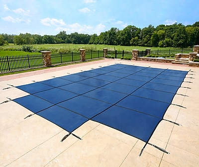 Arctic Armor BWS335B Blue Rectangular In Ground 12 Year Pool Safety Cover with Center End Step, 18' x 34'