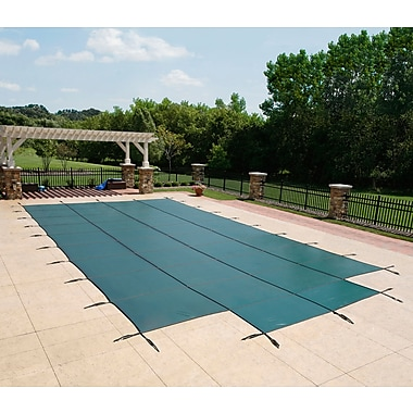 Arctic Armor BWS335G Green Rectangular In Ground 12 Year Pool Safety Cover with Center End Step, 18' x 34'