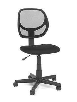 Essentials by OFM Armless Fabric Task Chair With Mesh Back, Black (E1009)