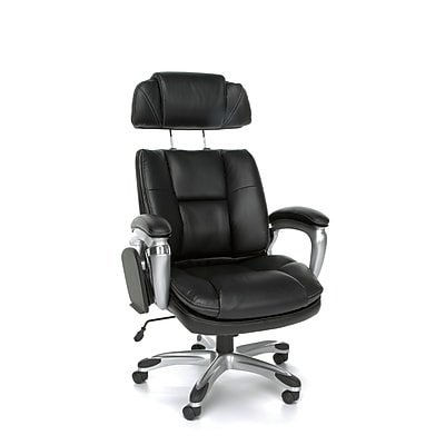 OFM ORO Series Leather Executive Office Chair, Fixed Arms, Black (845123039175) 1147722