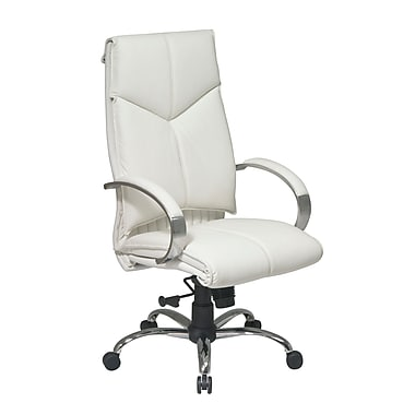 ProLine Deluxe High Back Executive Leather Chair, White