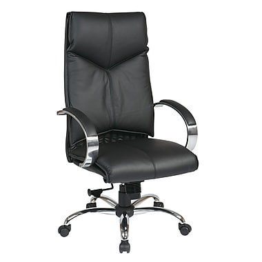 ProLine Deluxe High Back Executive Leather Chair, Black