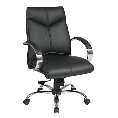 ProLine Deluxe Mid Back Executive Leather Chair, Black