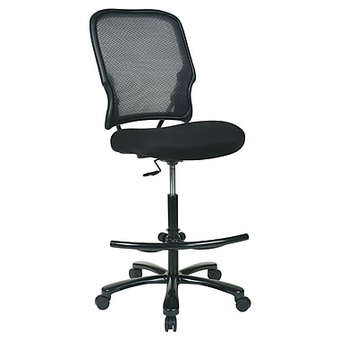 Space AirGrid Back Drafting Chair with Mesh Seat and Footring, Black