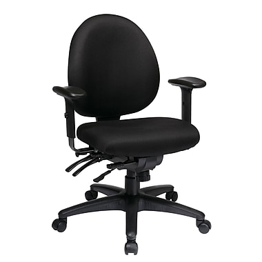 WorkSmart Multi-Function Mid Back Chair with Seat Slider, Black