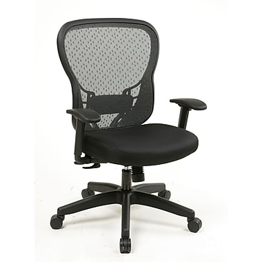 Space R2 SpaceGrid Back with Leather Memory Foam Seat and Synchro Tilt, Black