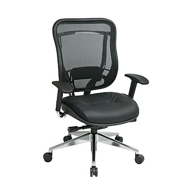 Office Star – Fauteuil Space avec dossier en filet et siège en cuir avec base en aluminium poli, noir