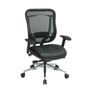 Space Mesh Back and Leather Seat with Polished Aluminum Seat, Black