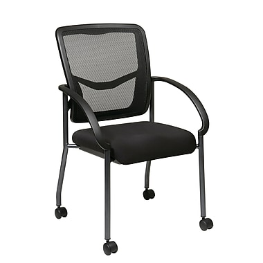 Prp-Line ProGrid Back Visitors Chair with Casters, Black
