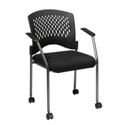 Pro-Line Visitors Chair with Arms, Casters and Ventilated Plastic Wrap Around Back, Black