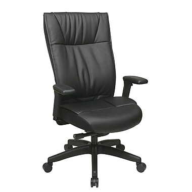 Space Contemporary Leather Executive Chair with Layered Seat and Back, Black