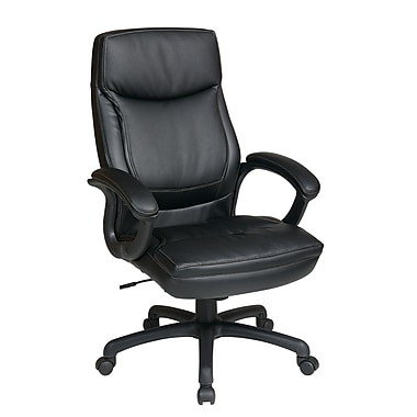 Office Star – Fauteuil de direction WorkSmart en éco-cuir avec dossier élevé et coutures deux tons, noir