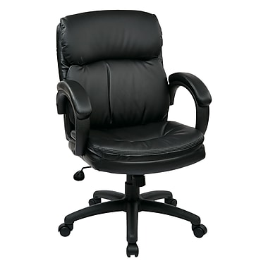 WorkSmart Executive Mid Back Eco Leather Chair, Black