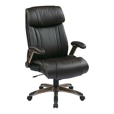 WorkSmart Executive Eco Leather Chair with Adjustable Padded Flip Arm, Espresso