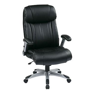 WorkSmart Executive Eco Leather Chair with Adjustable Padded Flip Arm, Black